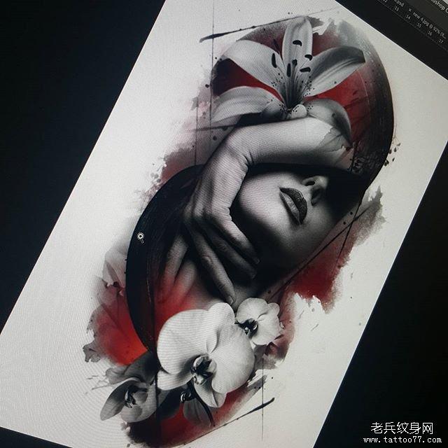 欧美写实女郎纹身图片