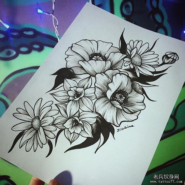 黑灰牡丹纹身图案