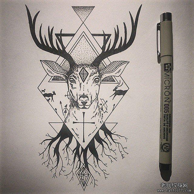 几何鹿纹身图案图片