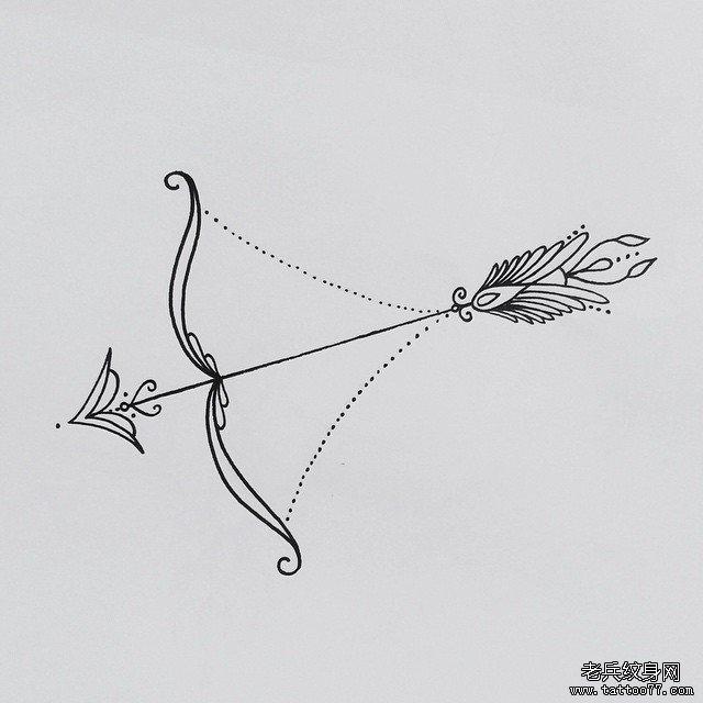 蕾丝丘比特之箭纹身图案