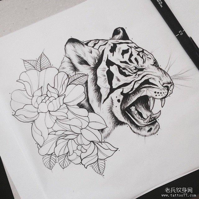 老虎牡丹纹身图案         几何线条动物纹身图案         欧美