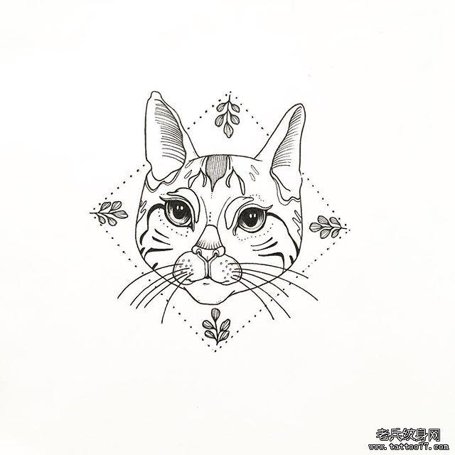 手臂欧美黑灰狮子纹身图案         可爱水彩猫咪纹身图片 0