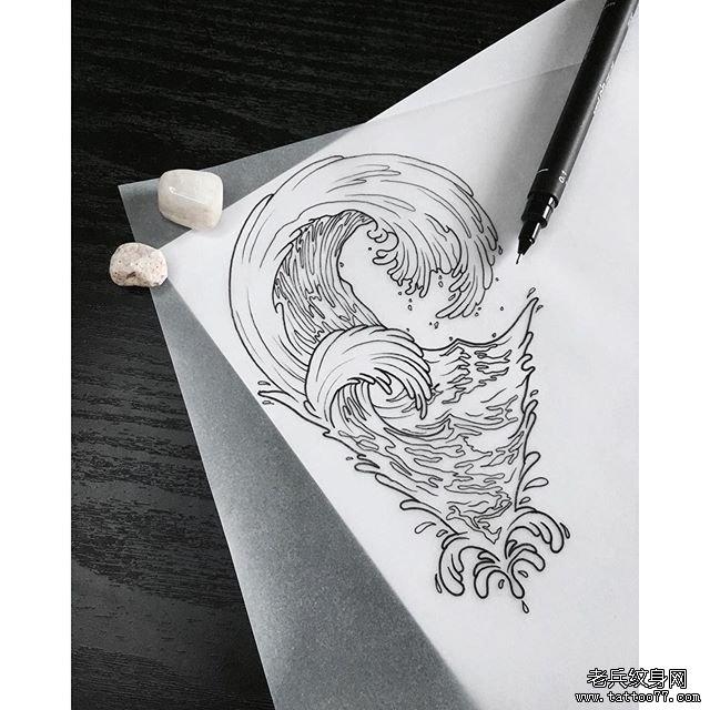 小浪花纹身图案