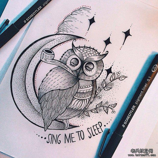 可爱猫头鹰点刺纹身图案