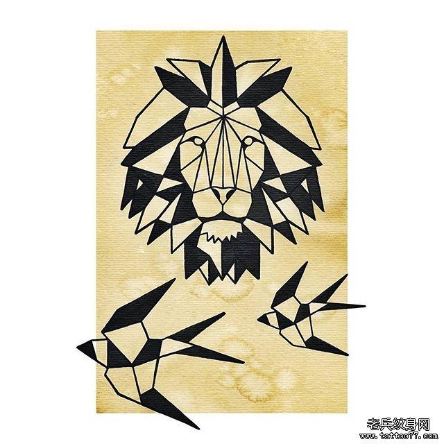 几何黑白狮子纹身图案