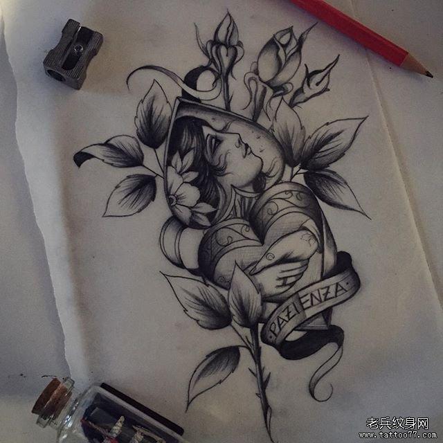 欧美纹身手稿素材_欧美黑灰女郎与花朵纹身图案