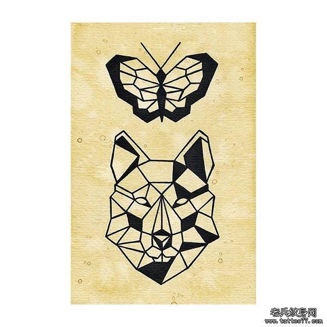 线条几何黑灰动物纹身图案