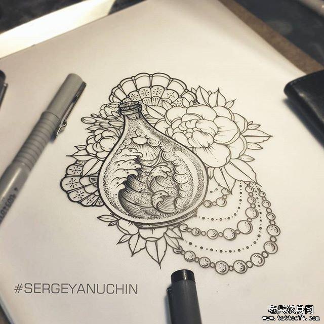 蕾丝牡丹与浪花纹身图案         几何线条菊花纹身图案         黑灰