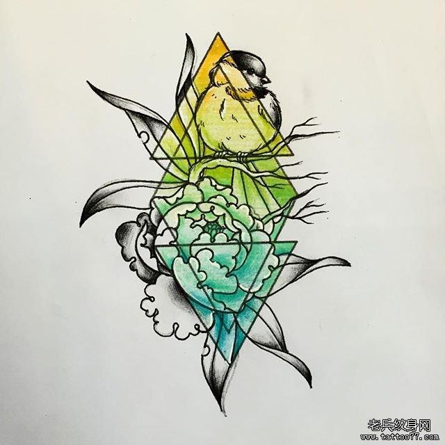 彩色几何牡丹鱼小鸟纹身图案