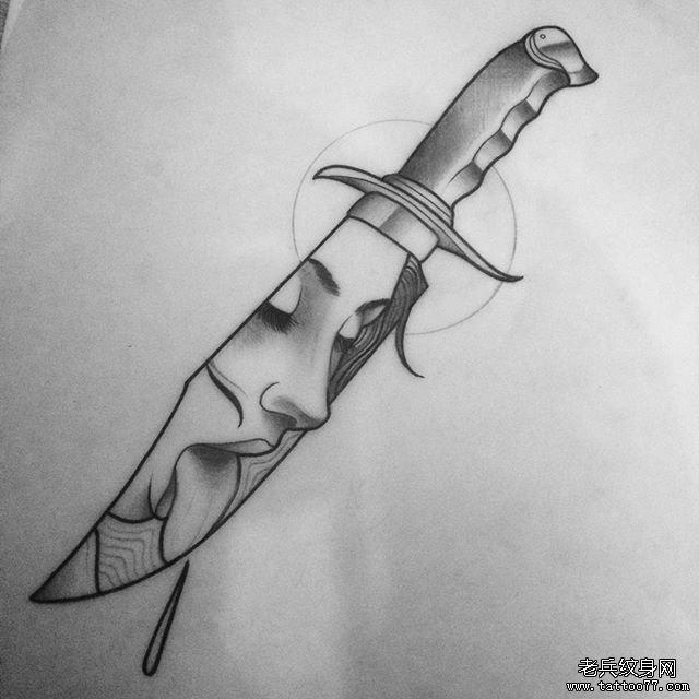 欧美纹身手稿素材_匕首欧美女郎纹身图案