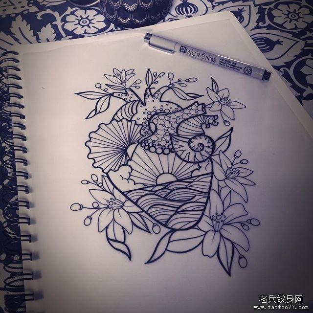 心脏花边纹身图案