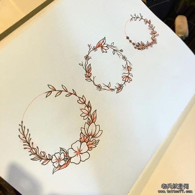彩色花环纹身图片图片
