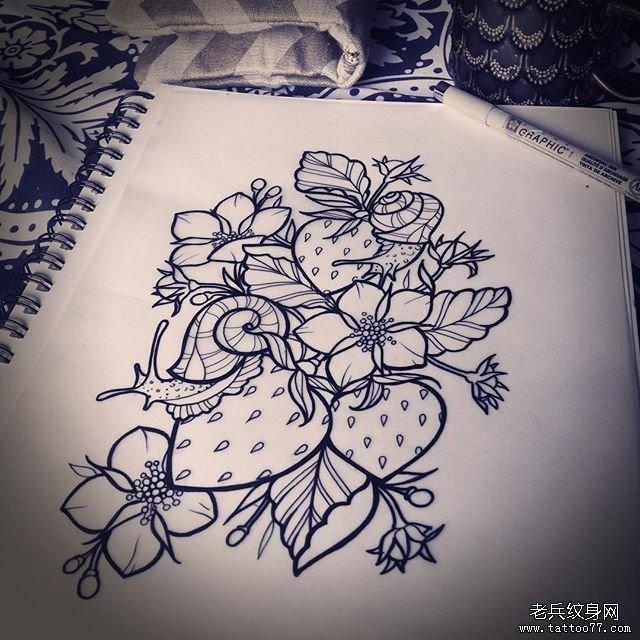 黑灰线条菊花纹身图案图片