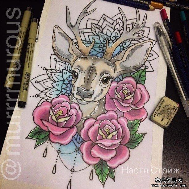 彩色玫瑰与鹿纹身图案图片