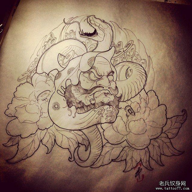 达摩与牡丹纹身图片