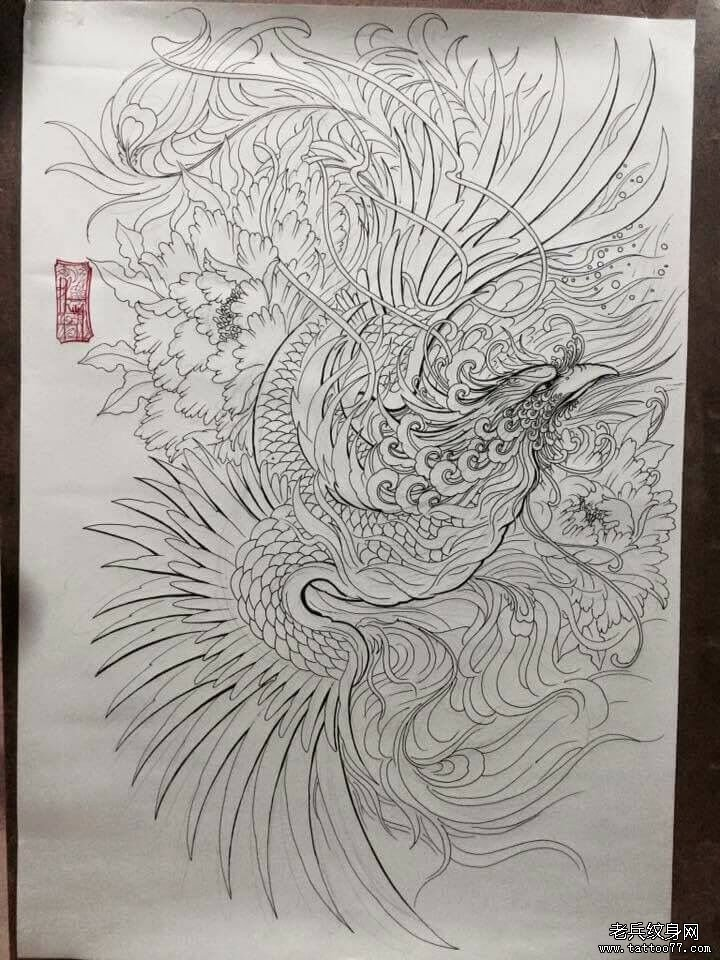 线条传统凤凰纹身图案图片