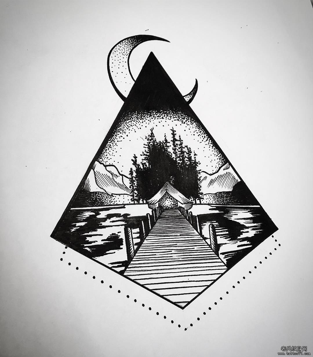 几何黑灰点刺风景纹身图案案
