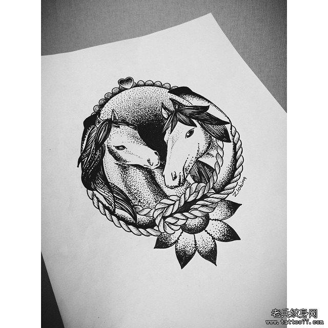 动物点刺纹身图案