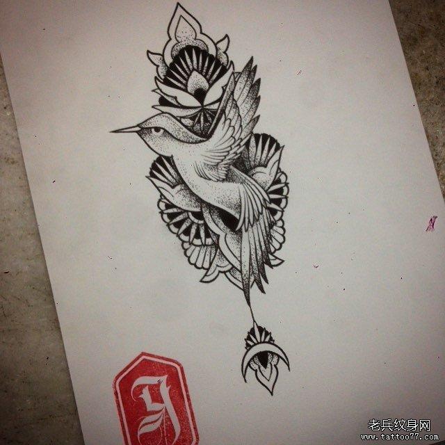 动物小鸟蕾丝小清新纹身图案