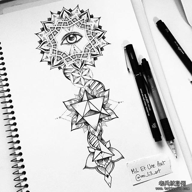 几何点刺手臂纹身图案