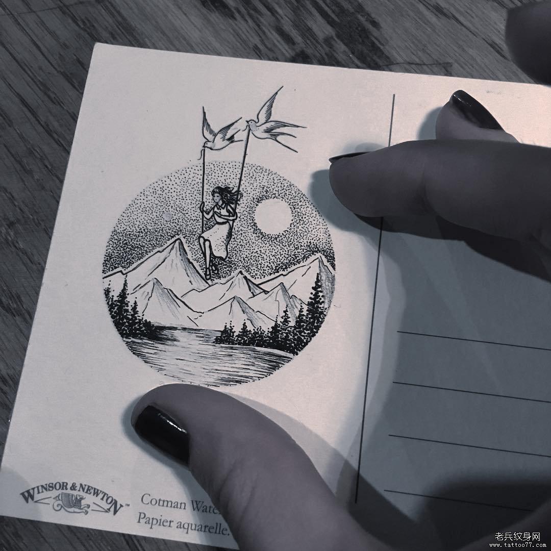 几何黑灰小清新纹身图案