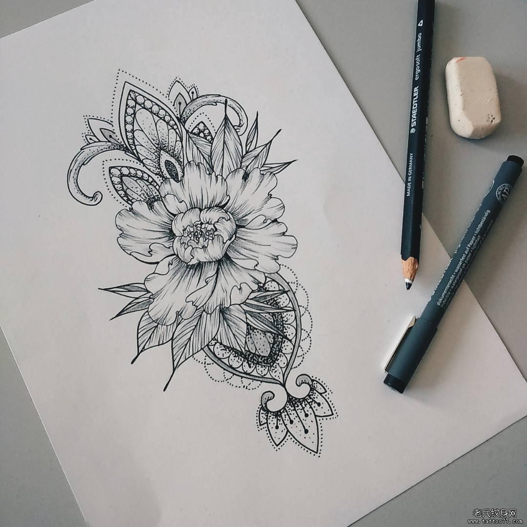 欧美,几何,玫瑰纹身图案