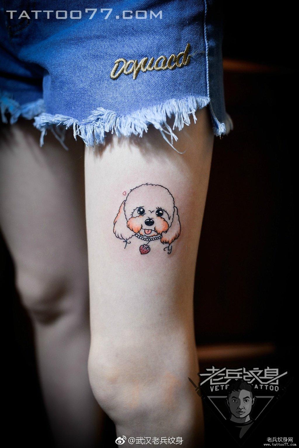 腿部小清新可爱小狗刺青作品