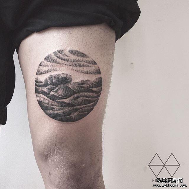腿部黑灰浪花纹身图案最后更新:17-08-15