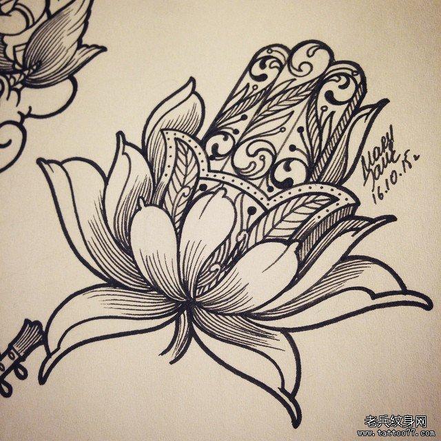 佛手莲花蕾丝纹身图案