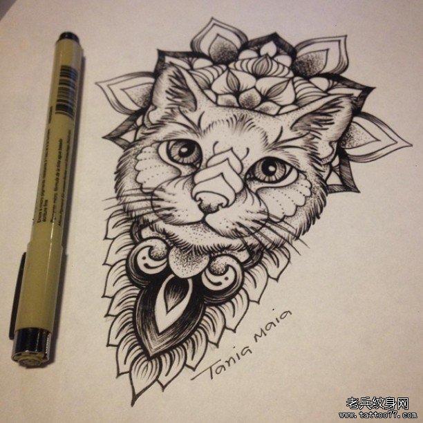 小清新蕾丝猫动物纹身图片
