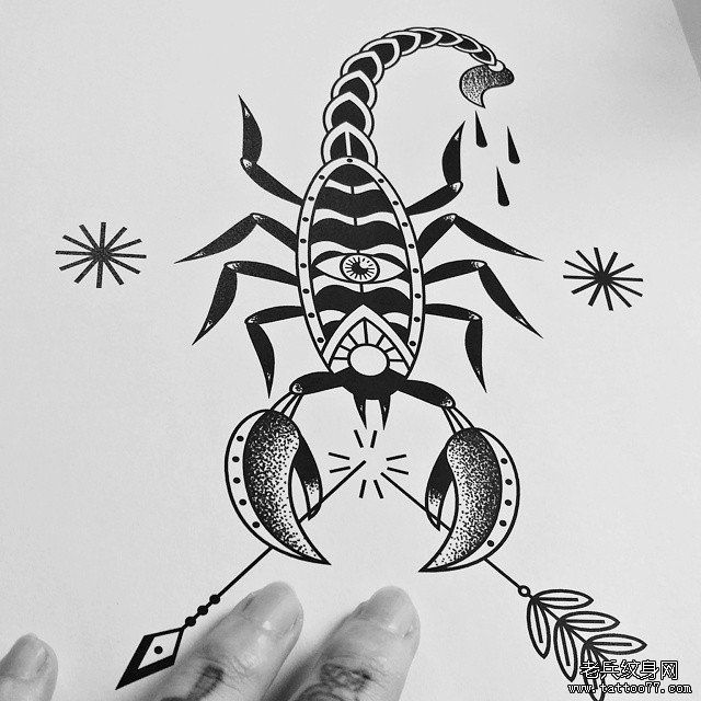 星空蛇动物几何纹身图案