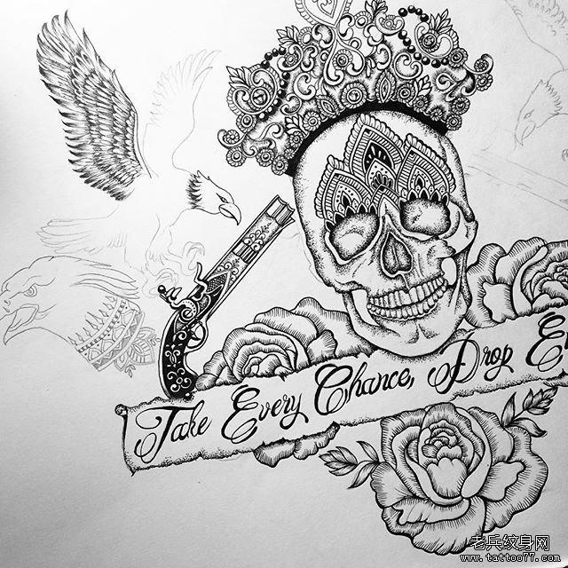 欧美玫瑰骷髅纹身图案