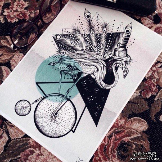 几何动物火烈鸟纹身图案