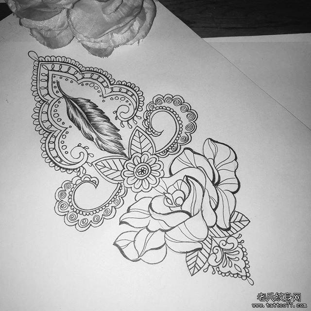 小清新蕾丝玫瑰纹身图案