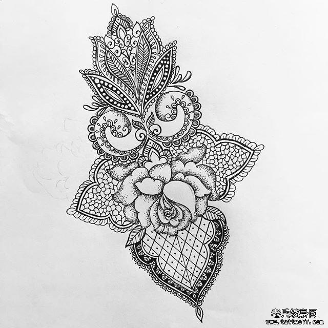 小清新玫瑰点刺蕾丝文身图案图片