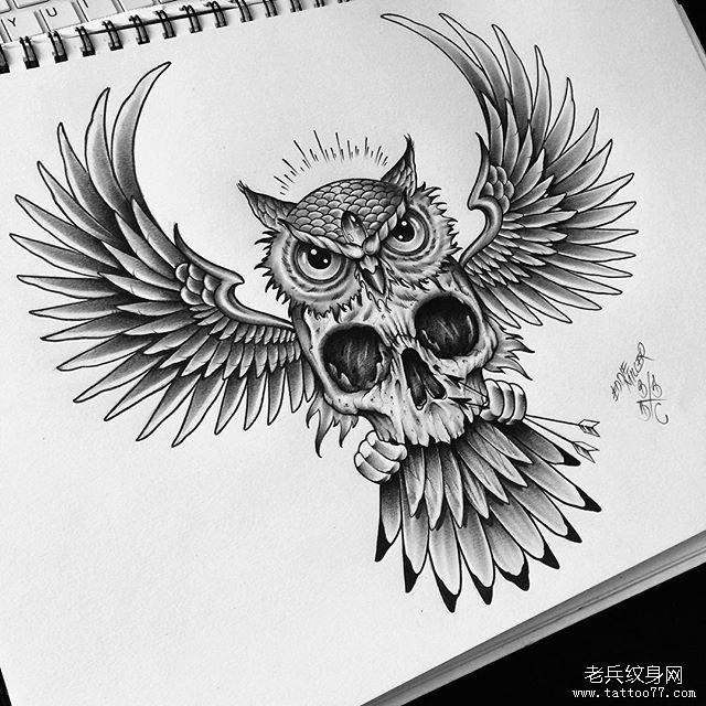 欧美骷髅猫头鹰纹身图案