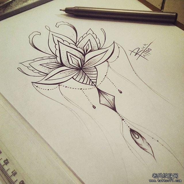 小清新蕾丝点刺纹身图案