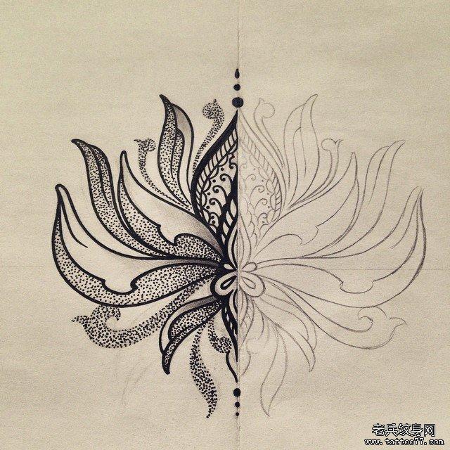 小清新莲花蕾丝纹身图案