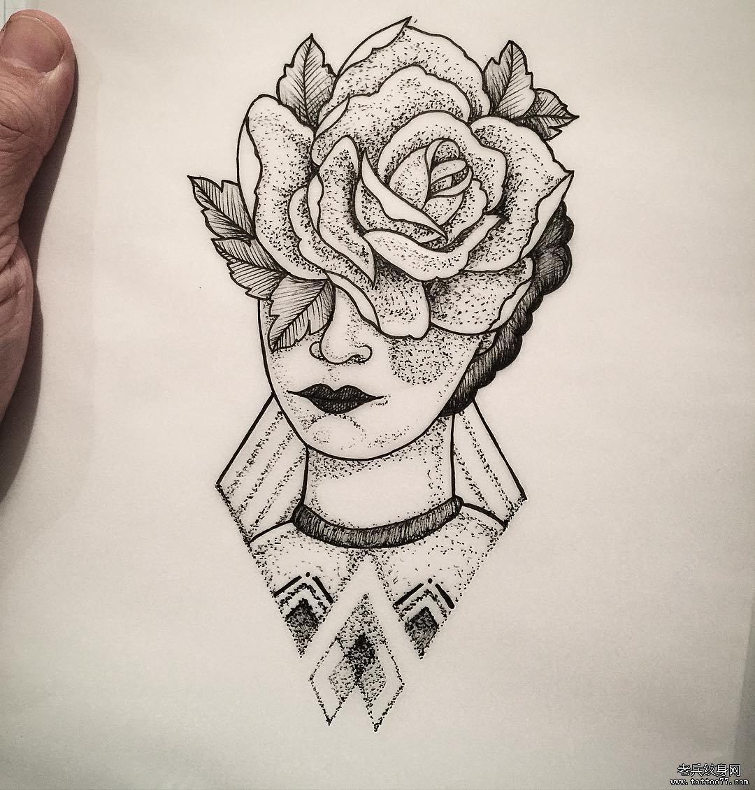 玫瑰小清新点刺纹身图案