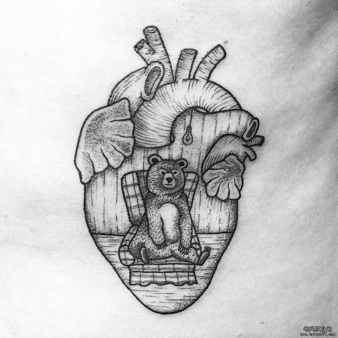 小清新心脏小熊动物纹身图案