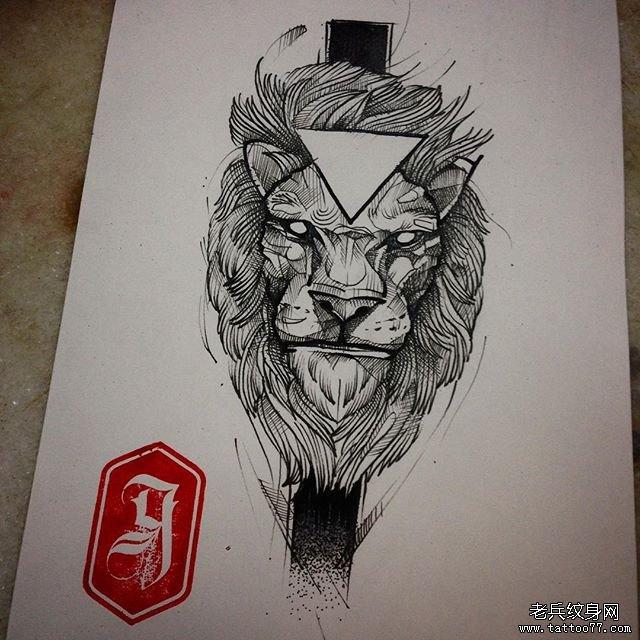 欧美速写动物狮子纹身图案-土著凶猛狮子纹身图案