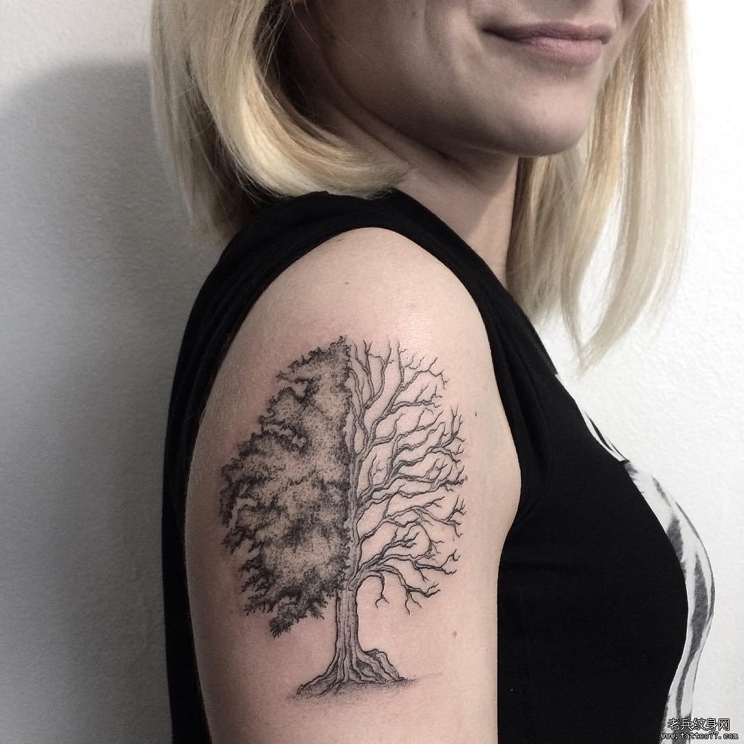手臂线条几何小清新纹身图片