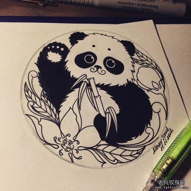 小清新动物熊猫纹身图片