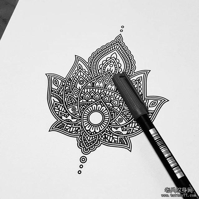 小清新蕾丝曼陀罗 纹身图案图片