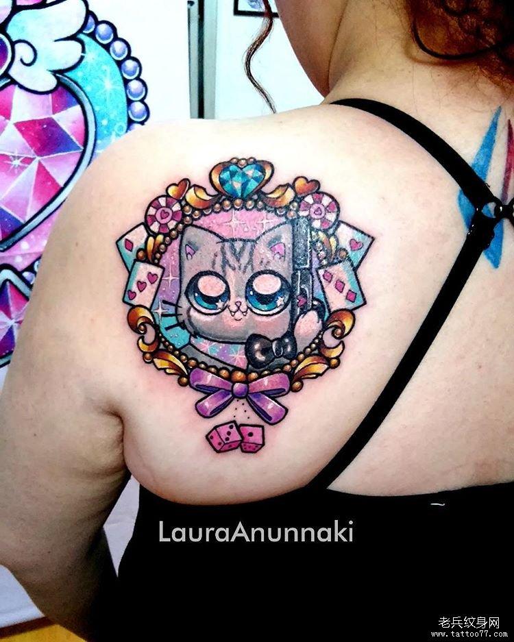卡通小猫色彩纹身图案