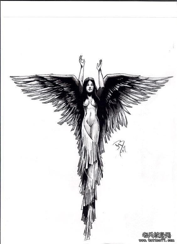 性感的天使纹身图案
