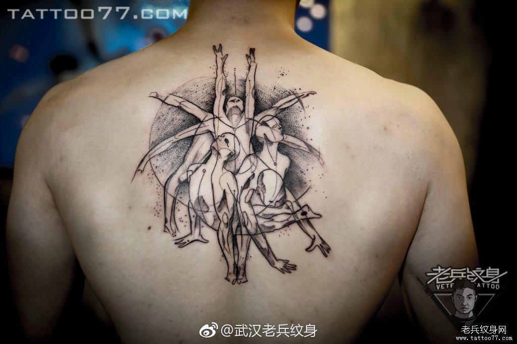 后背点刺纹身图案