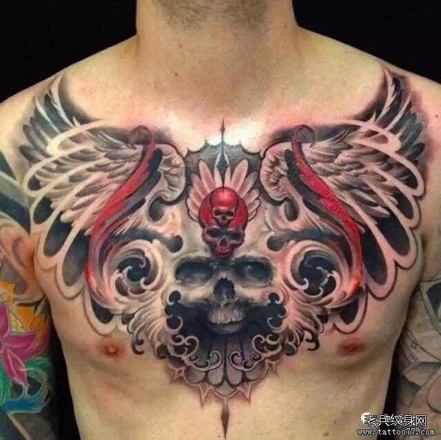 欧美骷髅花胸纹身图案