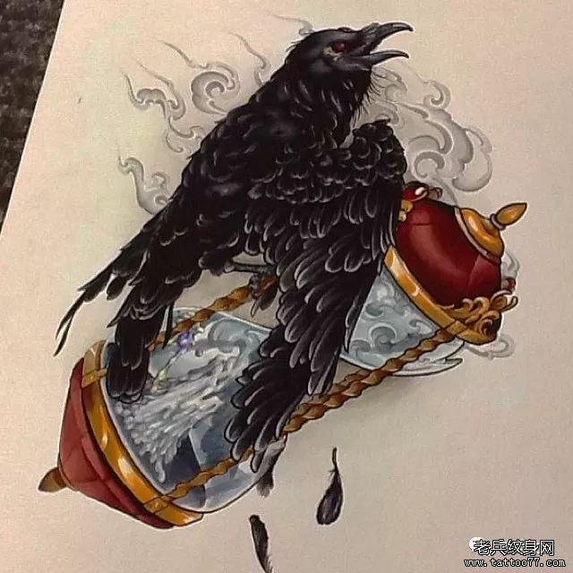 色彩狼纹身手稿图案