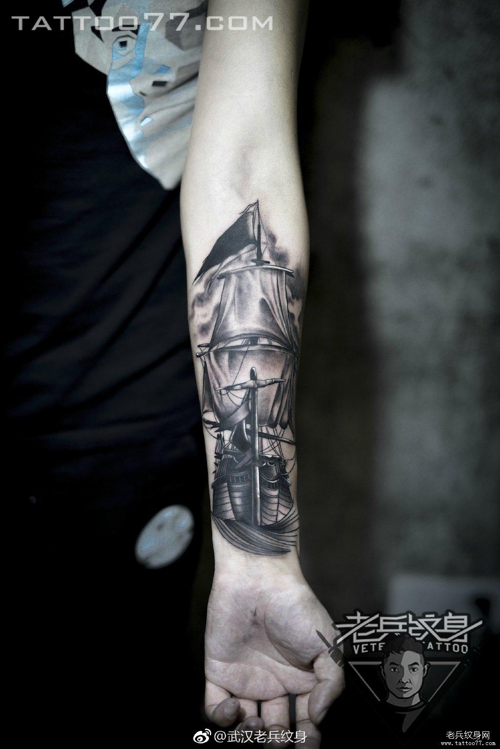 手臂帆船纹身图案